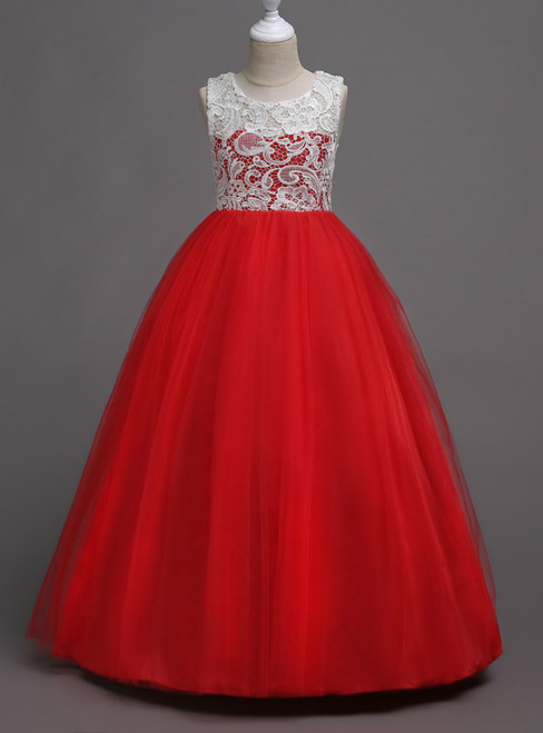 In Stock:Ship in 48 Hours Red Tulle Appliques Long Flower Girl Dress
