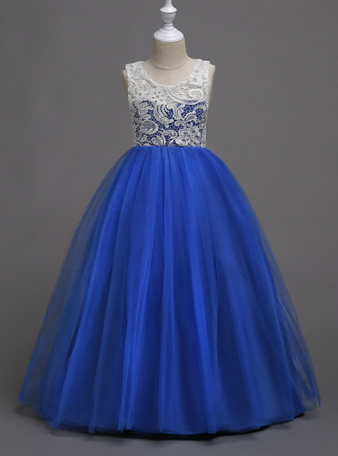 In Stock:Ship in 48 Hours Royal Blue Tulle Appliques Long Flower Girl Dress