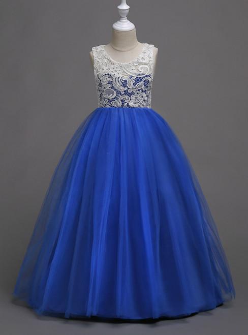 In Stock:Ship in 48 Hours Royal Blue Tulle Appliques Long Flower Girl Dress