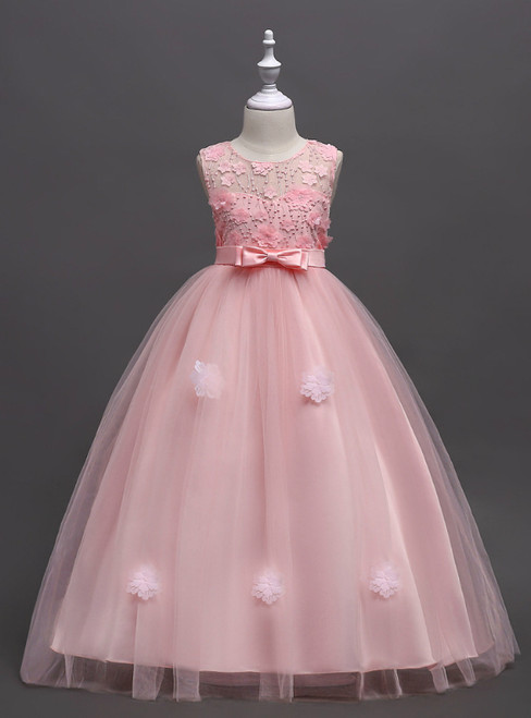 In Stock:Ship in 48 Hours Pink Tulle Appliques Flower Girl Dress With Bow