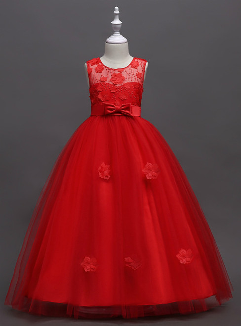 In Stock:Ship in 48 Hours Red Tulle Appliques Flower Girl Dress With Bow