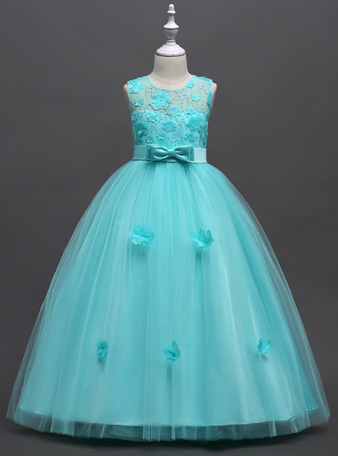 In Stock:Ship in 48 Hours Green Tulle Appliques Flower Girl Dress With Bow