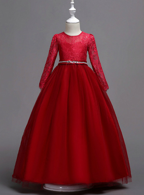 In Stock:Ship in 48 Hours Burgundy Tulle Appliques Long Sleeve Girl Dress