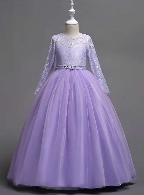 In Stock:Ship in 48 Hours Purple Tulle Appliques Long Sleeve Girl Dress
