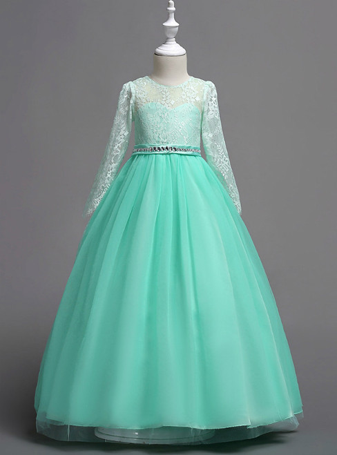 In Stock:Ship in 48 Hours Green Tulle Appliques Long Sleeve Girl Dress
