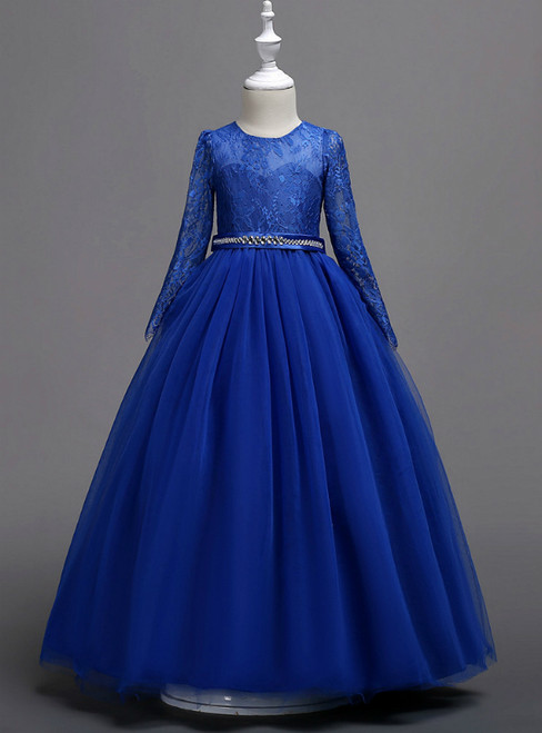 In Stock:Ship in 48 Hours Blue Tulle Appliques Long Sleeve Girl Dress