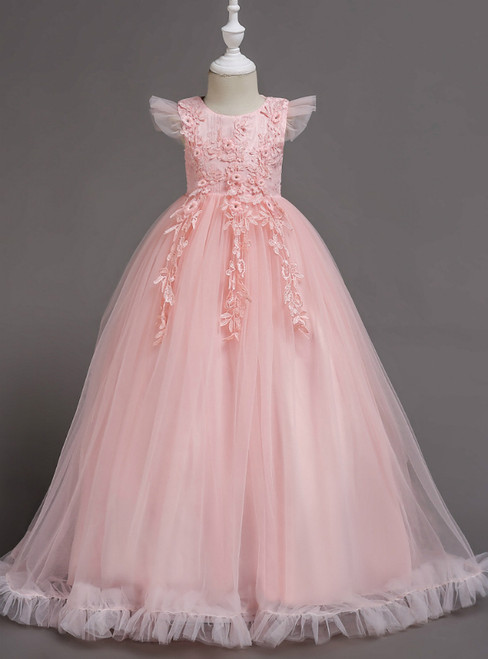 In Stock:Ship in 48 Hours Pink Tulle Appliques Scoop Neck Flower Girl Dress