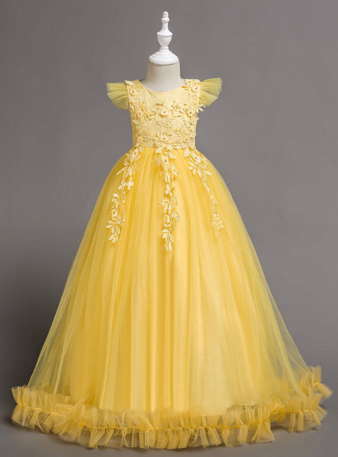 In Stock:Ship in 48 Hours Yellow Tulle Appliques Scoop Neck Flower Girl Dress