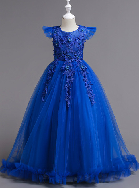 In Stock:Ship in 48 Hours Blue Tulle Appliques Scoop Neck Flower Girl Dress