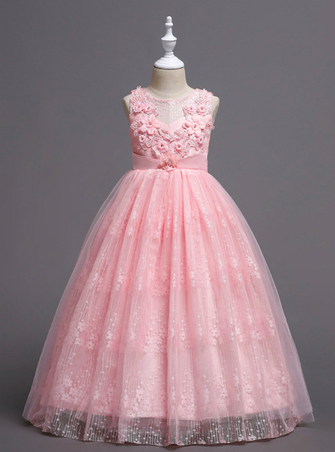 In Stock:Ship in 48 Hours Pink Lace Appliques Flower Girl Dress