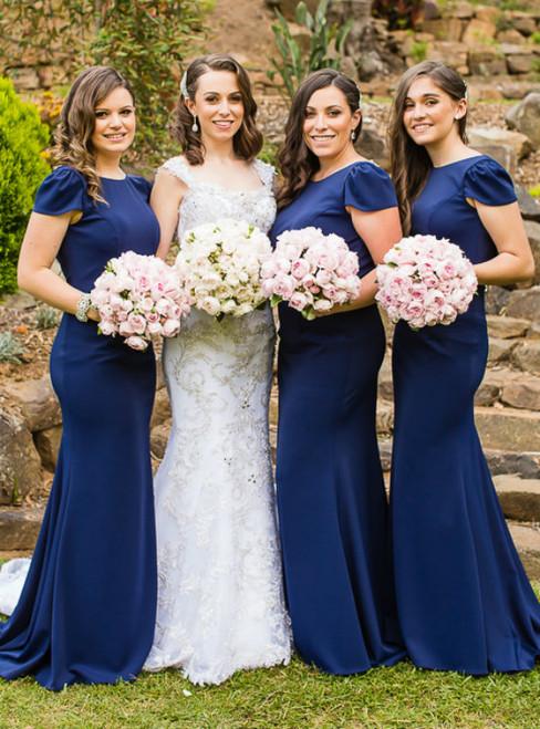 Cap Sleeves Navy Blue Long Bridesmaid Dress