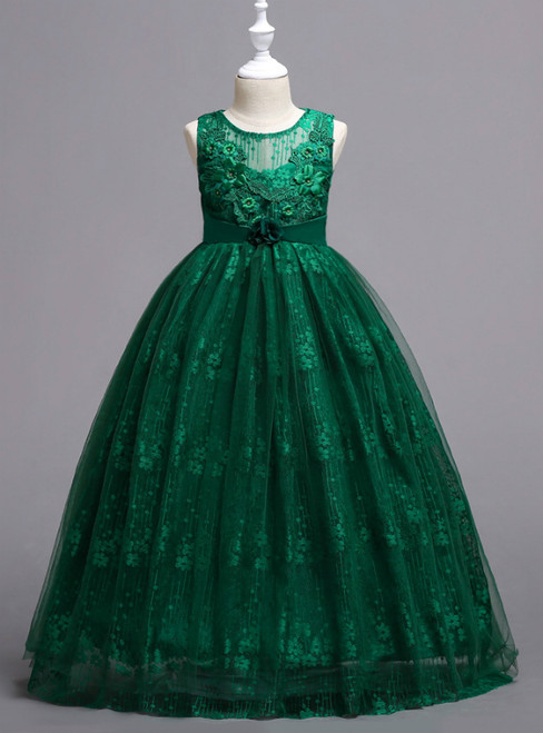 In Stock:Ship in 48 Hours Green Lace Appliques Flower Girl Dress