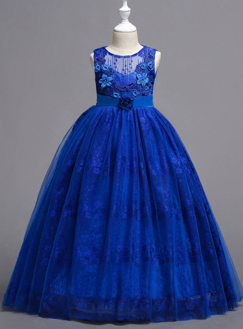 In Stock:Ship in 48 Hours Royal Blue Lace Appliques Flower Girl Dress