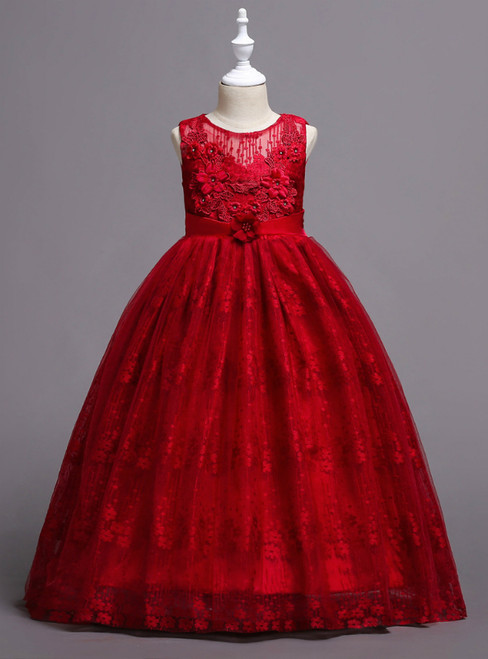 In Stock:Ship in 48 Hours Burgundy Lace Appliques Flower Girl Dress