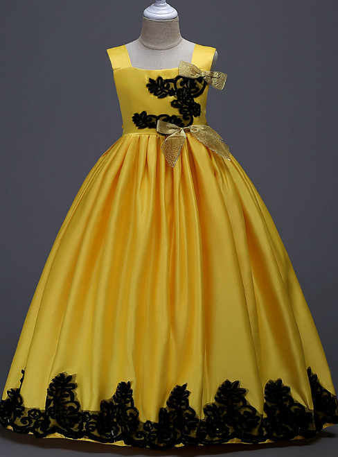 In Stock:Ship in 48 Hours Yellow Satin Straps Appliques Girl Dress