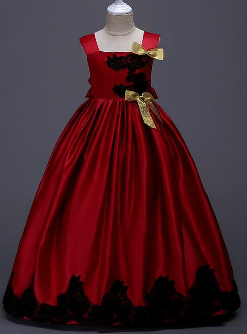 In Stock:Ship in 48 Hours Burgundy Satin Straps Appliques Girl Dress