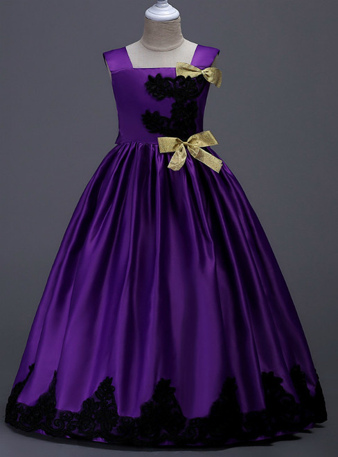 In Stock:Ship in 48 Hours Purple Satin Straps Appliques Girl Dress