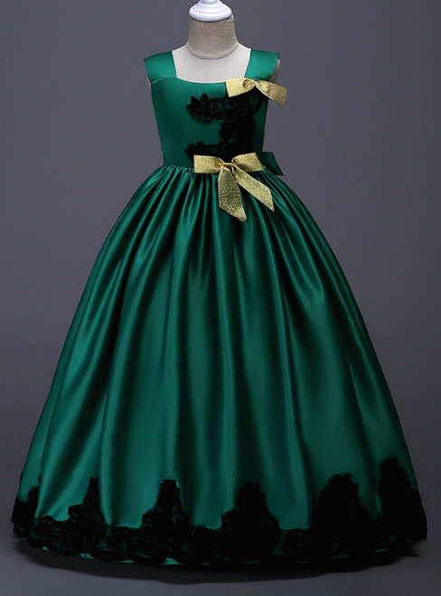 In Stock:Ship in 48 Hours Green Satin Straps Appliques Girl Dress