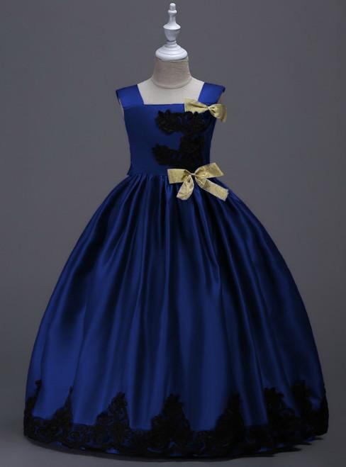 In Stock:Ship in 48 Hours Dark Blue Satin Straps Appliques Girl Dress