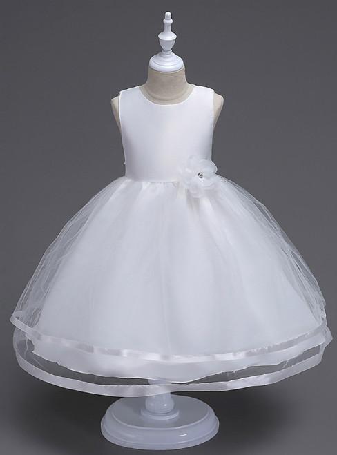 In Stock:Ship in 48 Hours White Tulle Short Flower Girl Dress