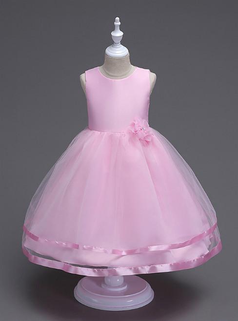 In Stock:Ship in 48 Hours Pink Tulle Short Flower Girl Dress