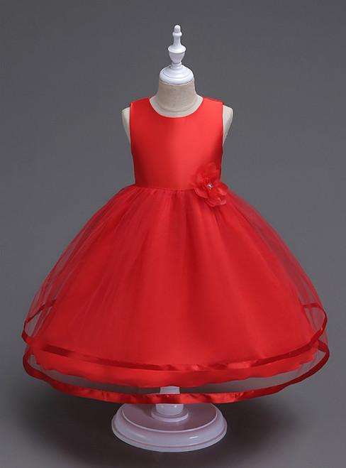In Stock:Ship in 48 Hours Red Tulle Short Flower Girl Dress