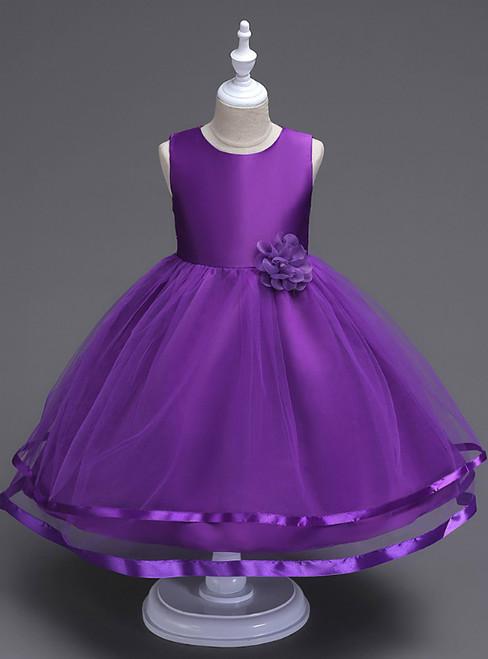 In Stock:Ship in 48 Hours Purple Tulle Short Flower Girl Dress