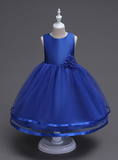 In Stock:Ship in 48 Hours Blue Tulle Short Flower Girl Dress