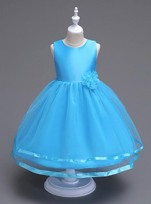 In Stock:Ship in 48 Hours Sky Blue Tulle Short Flower Girl Dress