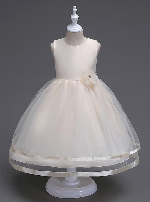In Stock:Ship in 48 Hours Champagne Tulle Short Flower Girl Dress