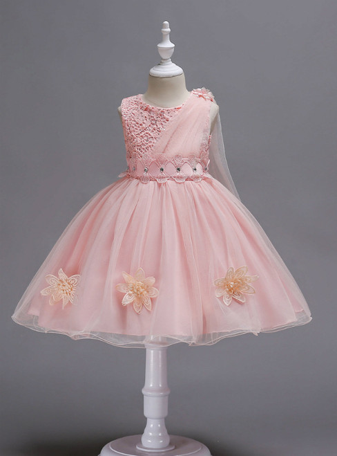 In Stock:Ship in 48 Hours Pink Lace Tulle Flower Girl Dress