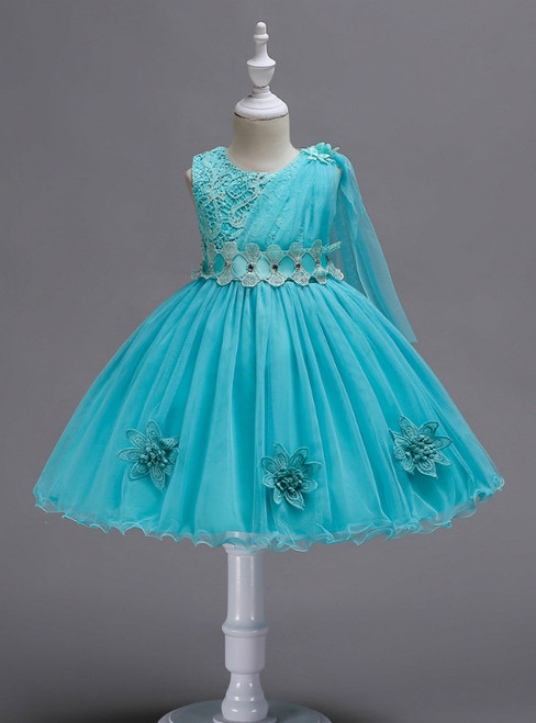 In Stock:Ship in 48 Hours Blue Lace Tulle Flower Girl Dress