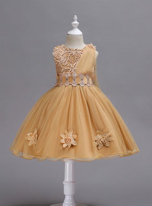 In Stock:Ship in 48 Hours Khaki Lace Tulle Flower Girl Dress
