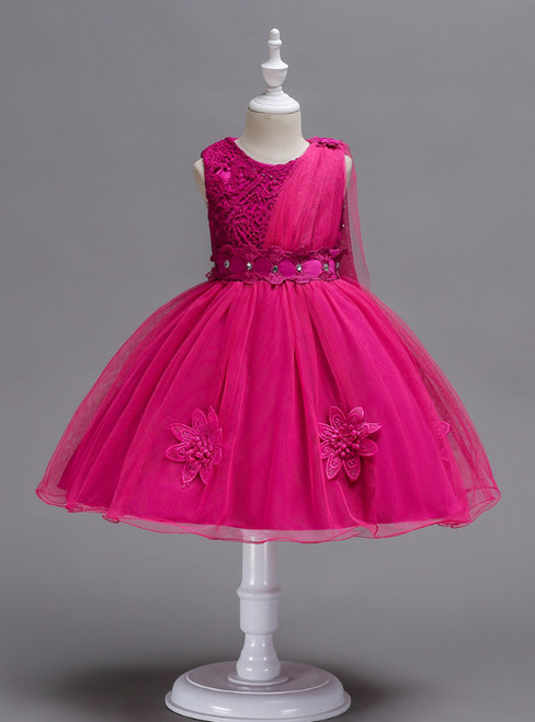 In Stock:Ship in 48 Hours Fuchsia Lace Tulle Flower Girl Dress
