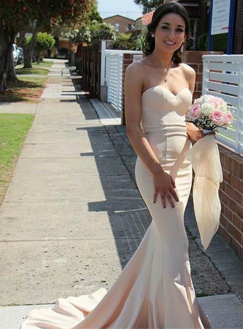 Simple Mermaid Sweetheart Sweep Train Satin Bridesmaid Dress