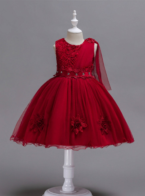 In Stock:Ship in 48 Hours Burgundy Lace Tulle Flower Girl Dress
