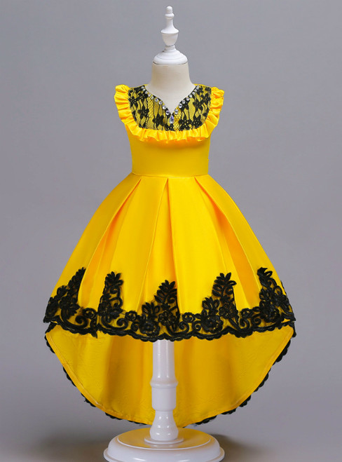 In Stock:Ship in 48 Hours Yellow Satin Hi Lo Appliques Girl Dress