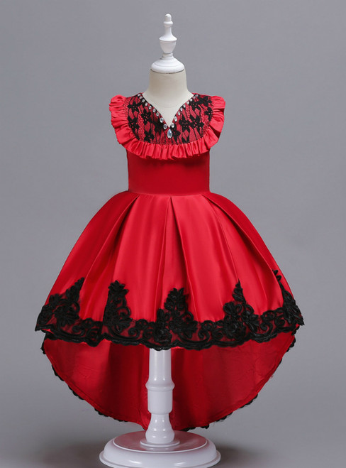In Stock:Ship in 48 Hours Red Satin Hi Lo Appliques Girl Dress