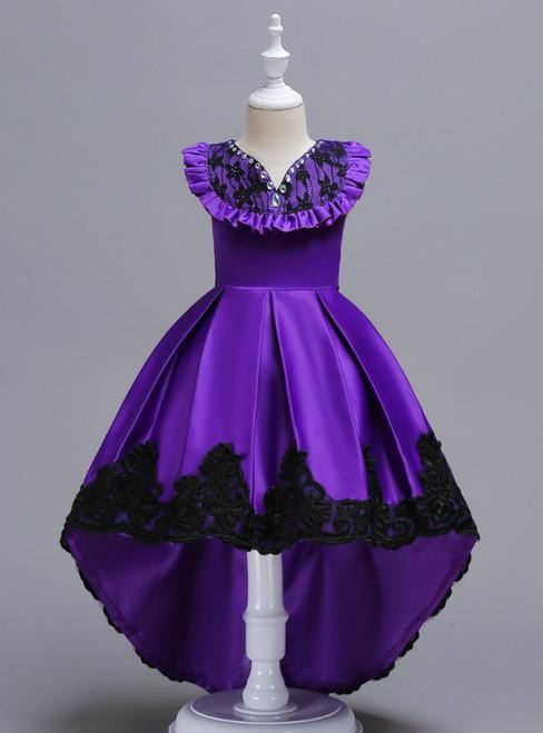 In Stock:Ship in 48 Hours Purple Satin Hi Lo Appliques Girl Dress