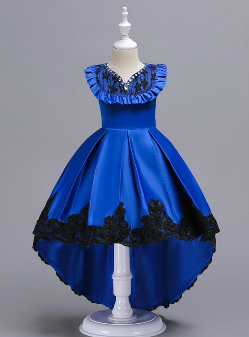 In Stock:Ship in 48 Hours Royal Blue Satin Hi Lo Appliques Girl Dress