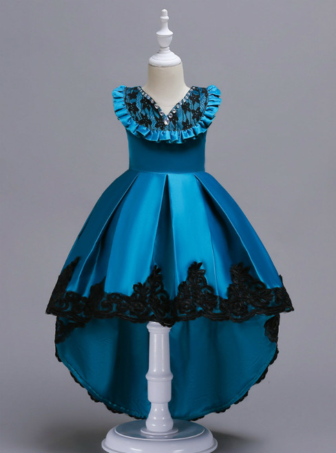 In Stock:Ship in 48 Hours Blue Satin Hi Lo Appliques Girl Dress