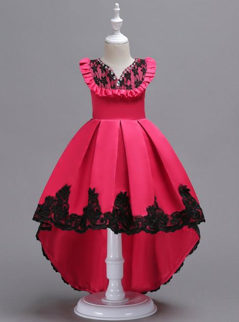 In Stock:Ship in 48 Hours Fuchsia Satin Hi Lo Appliques Girl Dress