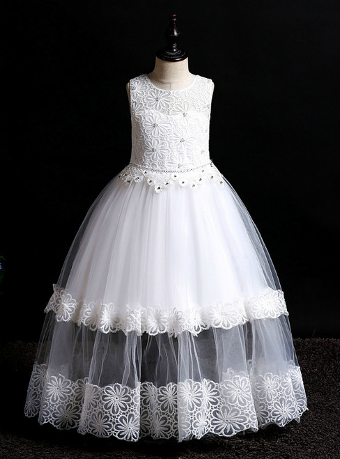 In Stock:Ship in 48 Hours White Tulle Lace Flower Girl Dress With Beading