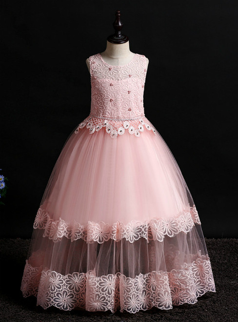In Stock:Ship in 48 Hours Pink Tulle Lace Flower Girl Dress With Beading