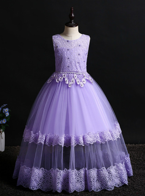 In Stock:Ship in 48 Hours Purple Tulle Lace Flower Girl Dress With Beading