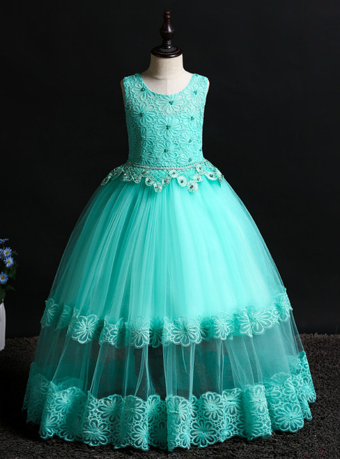 In Stock:Ship in 48 Hours Green Tulle Lace Flower Girl Dress With Beading