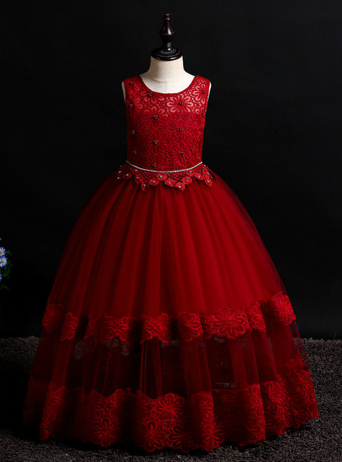 In Stock:Ship in 48 Hours Burgundy Tulle Lace Flower Girl Dress With Beading