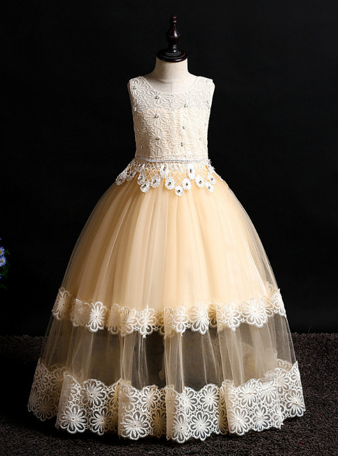 In Stock:Ship in 48 Hours Champagne Tulle Lace Flower Girl Dress With Beading