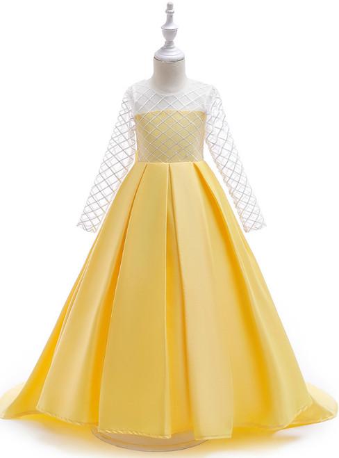 In Stock:Ship in 48 Hours Yellow Satin Long Sleeve Flower Girl Dress