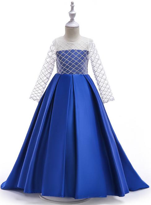 In Stock:Ship in 48 Hours Royal Blue Satin Long Sleeve Flower Girl Dress
